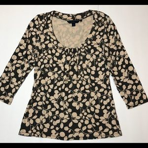 BODEN Gray & Ivory FLORAL Soft Stretch SHIRT Top